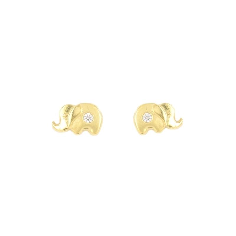Pendientes oro elefante con circonitas