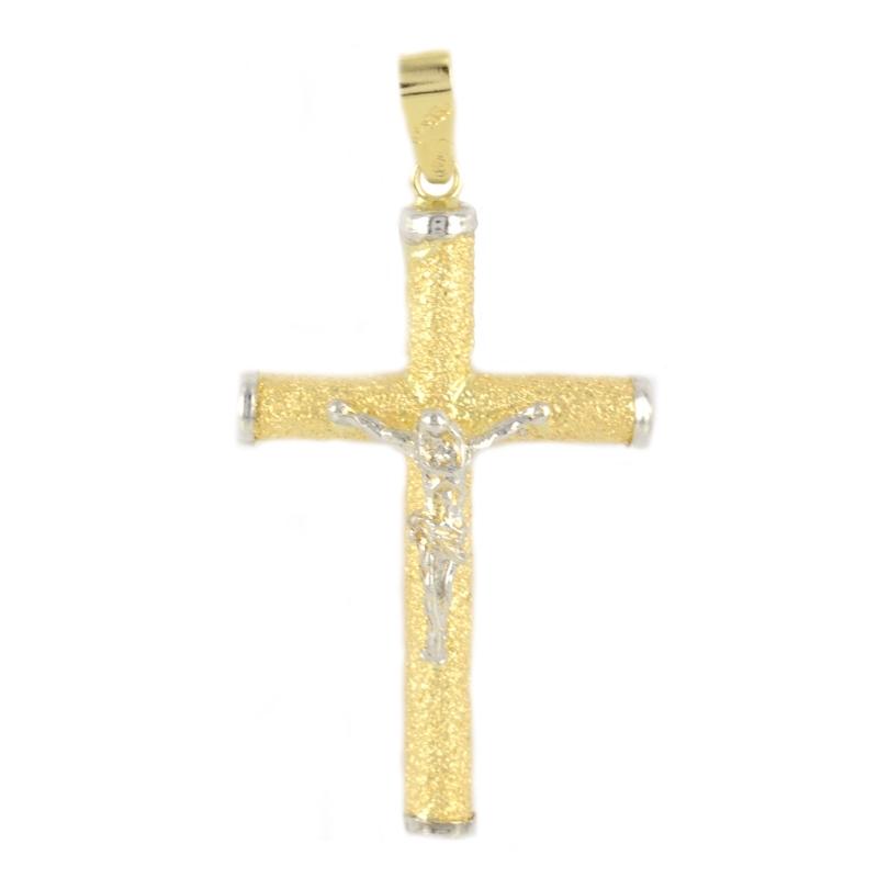 Cruz oro blanco con cristo