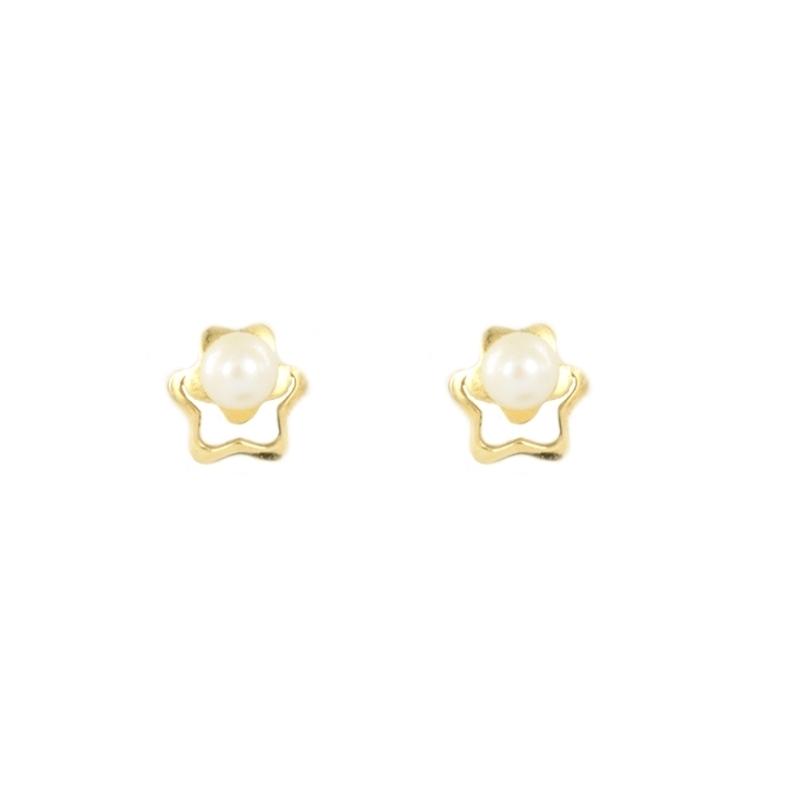 Pendientes oro estrella y perla