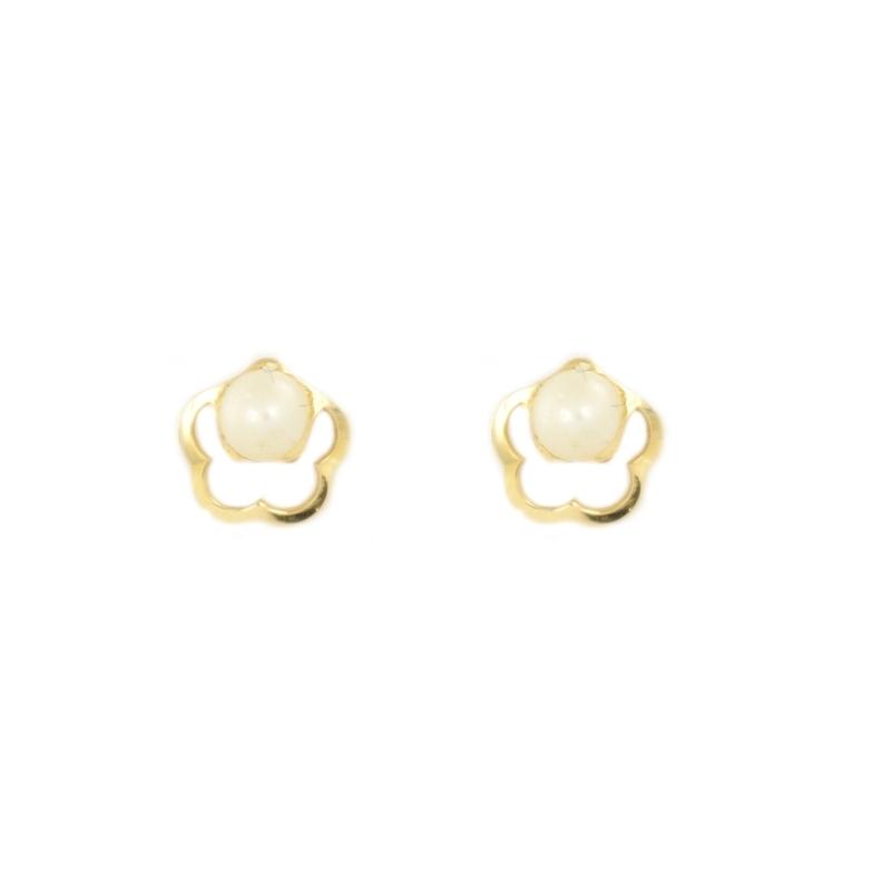 Pendientes oro flor y perla