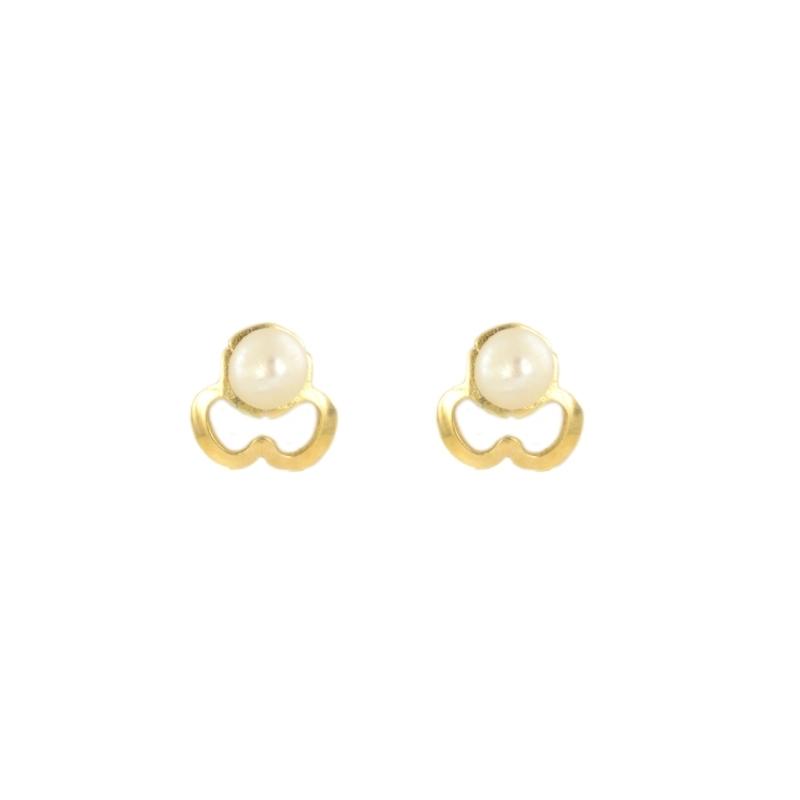 Pendientes oro trebol y perla