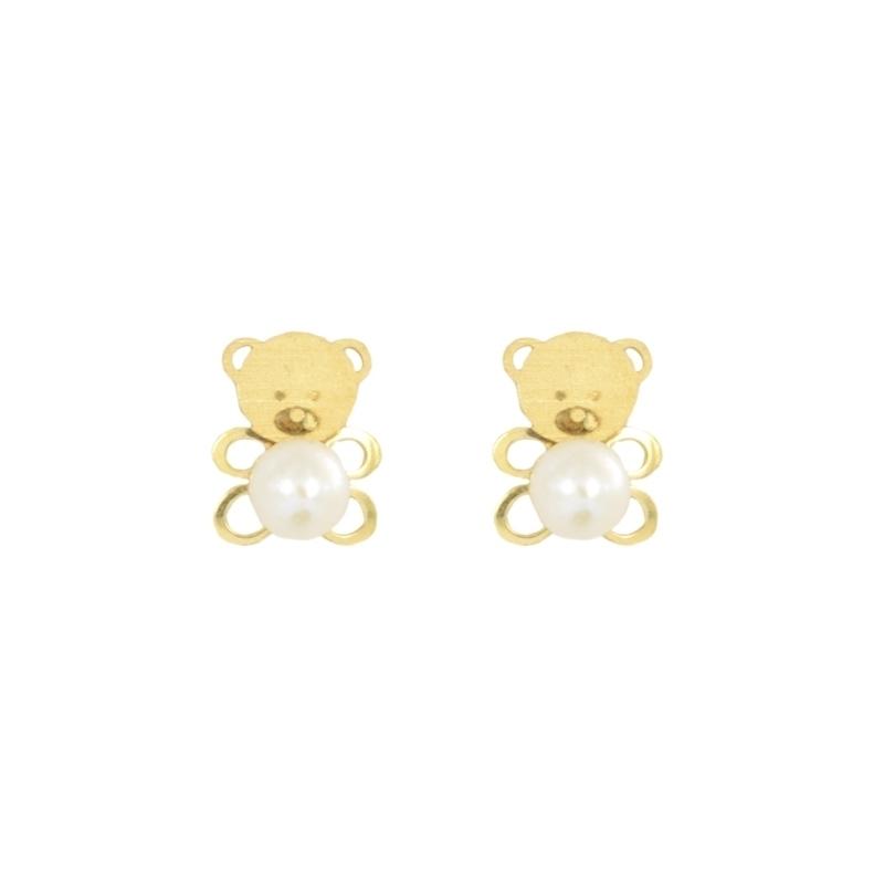 Pendientes oro oso y perla