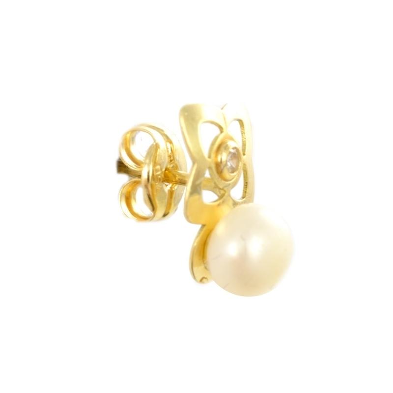 Pendientes oro estrella con perla