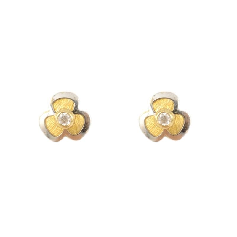 Pendientes oro Bicolor 18K circonita