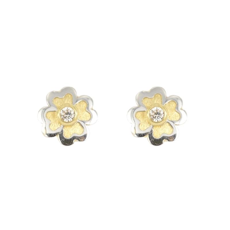 Pendientes oro con flor