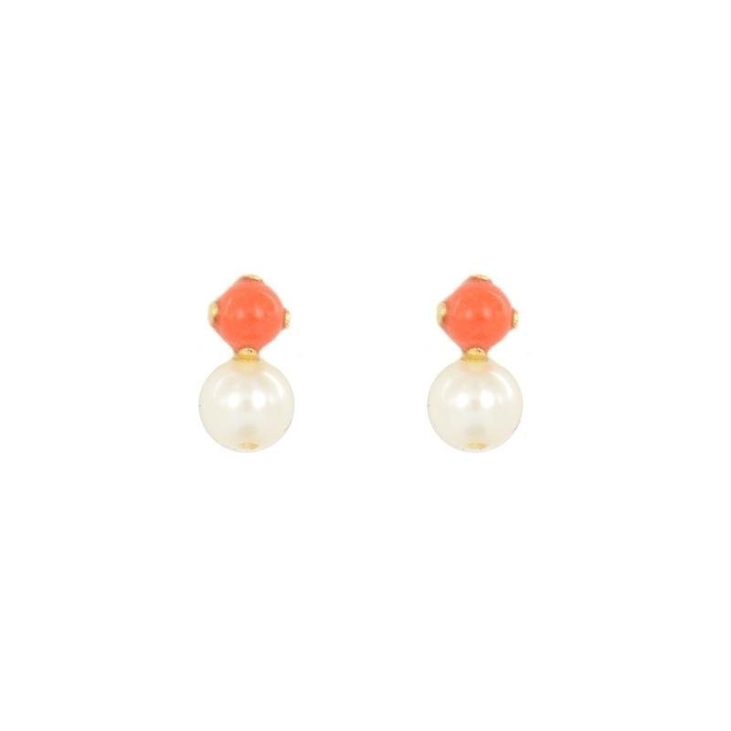 Pendientes oro coral y perla