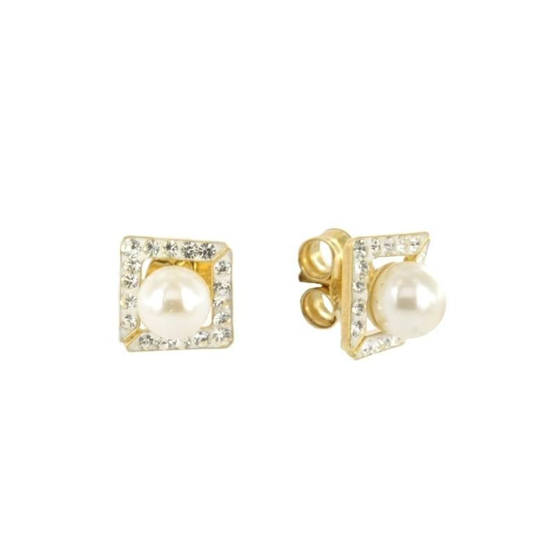 Pendientes oro perla con multipiedra