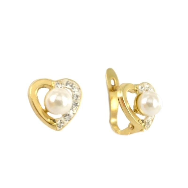 Pendientes oro con perla y circonita