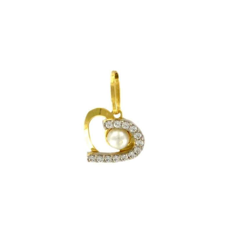 Colgante oro, perla y micro engaste