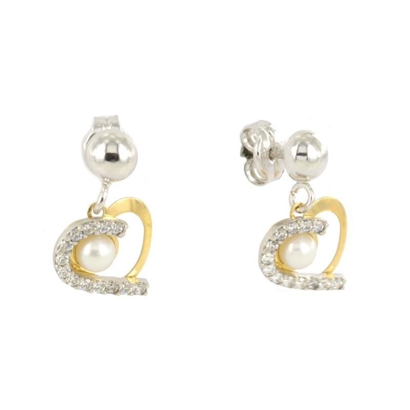 Pendiente Corazón Oro Bicolor 18K Perla y Circonitas - Destacados