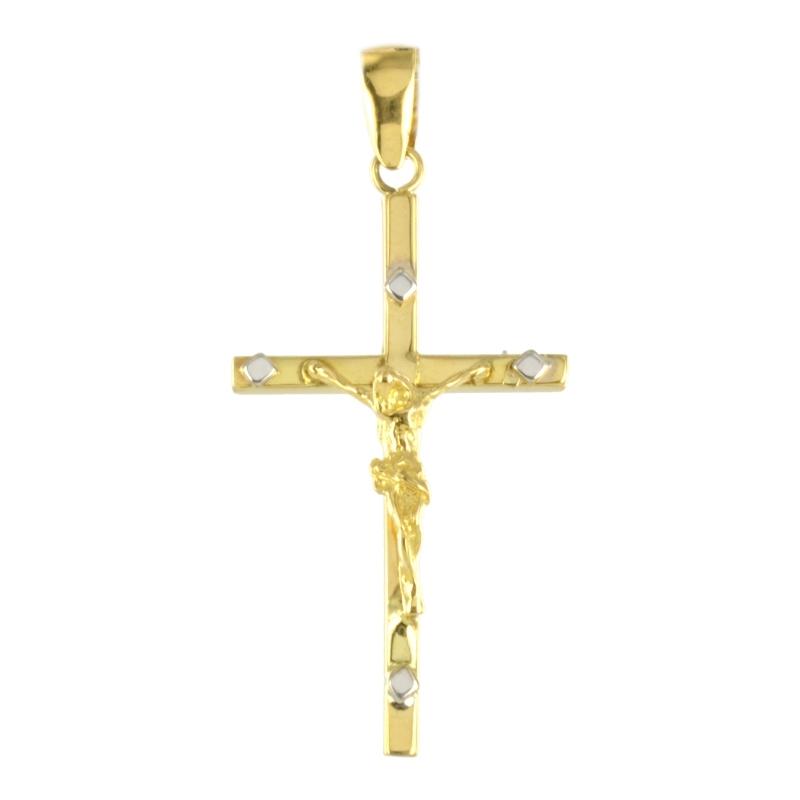 Cruz oro bicolor con cristo