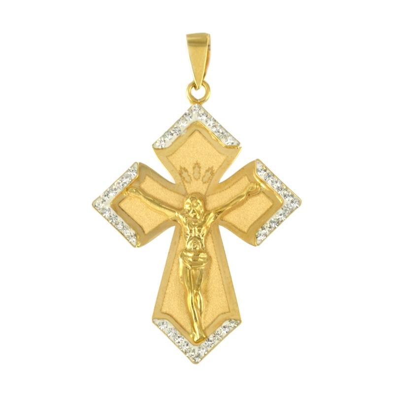 Cruz oro con cristo y circonitas