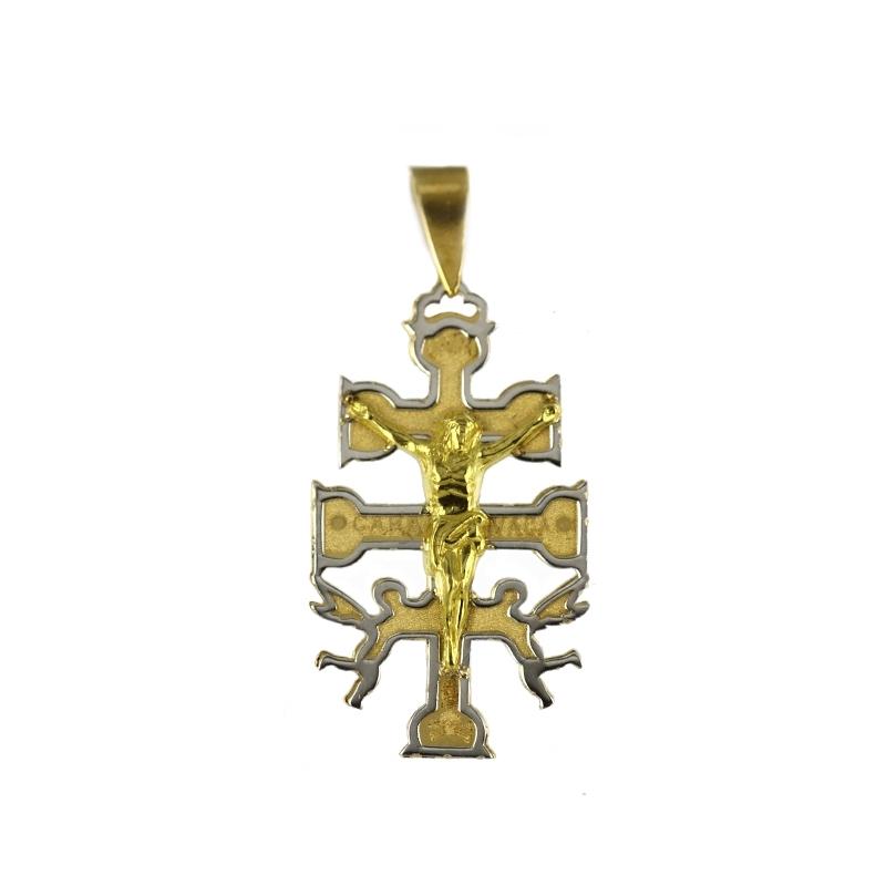 Cruz oro Bicolor 18K caravaca