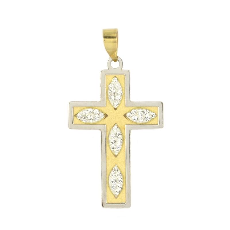 Cruz oro lisa con circonitas