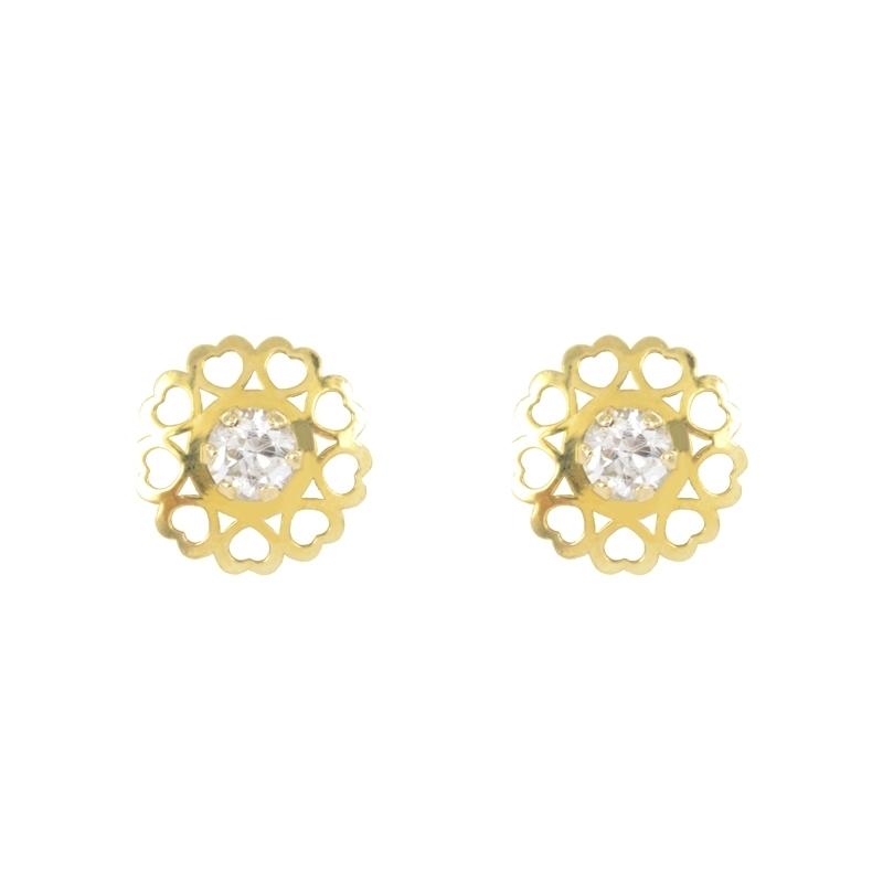 Pendientes oro amarillo 18K circonita