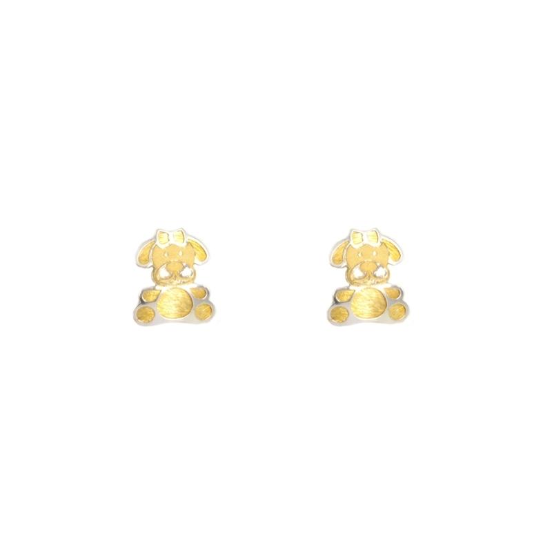 Pendientes oro bicolor perrita
