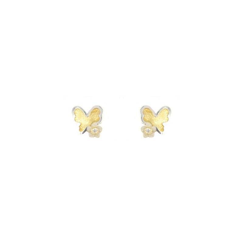 Pendientes oro bicolor Mariposa
