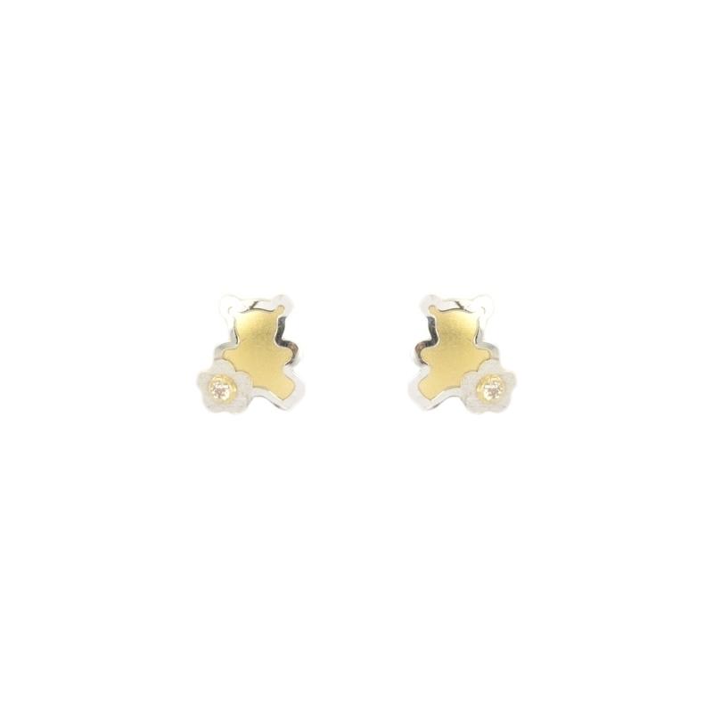 Pendientes oro bicolor oso