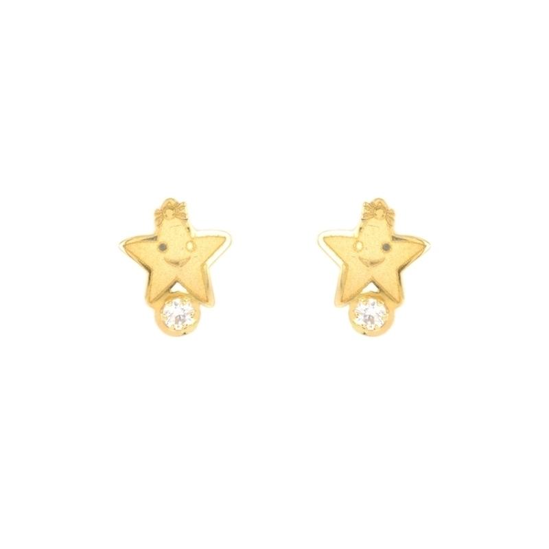 Pendientes oro infantiles Estrella