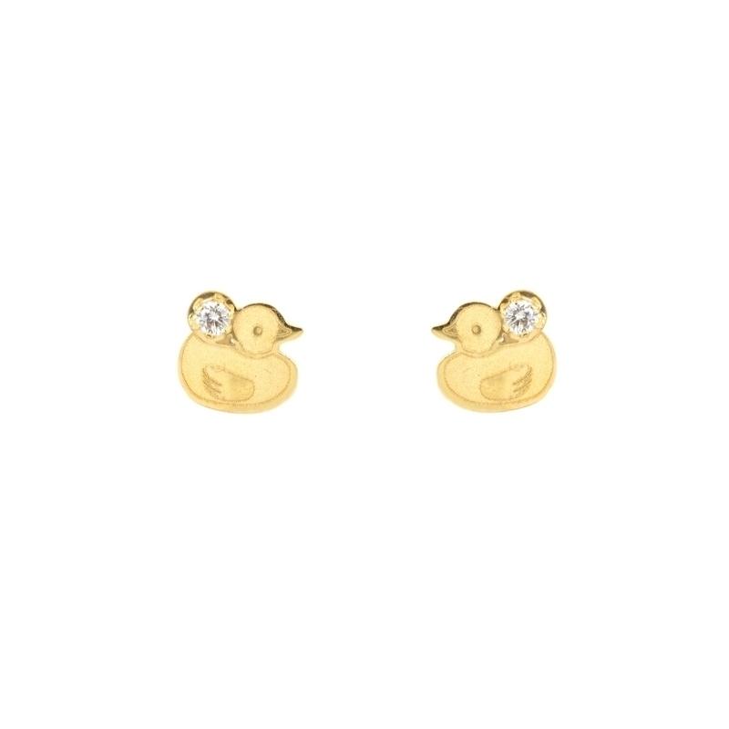 Pendientes oro infantiles Pato