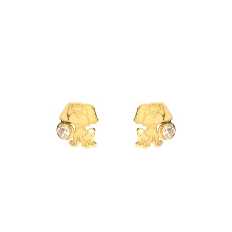 Pendientes oro Perrito con circonitas