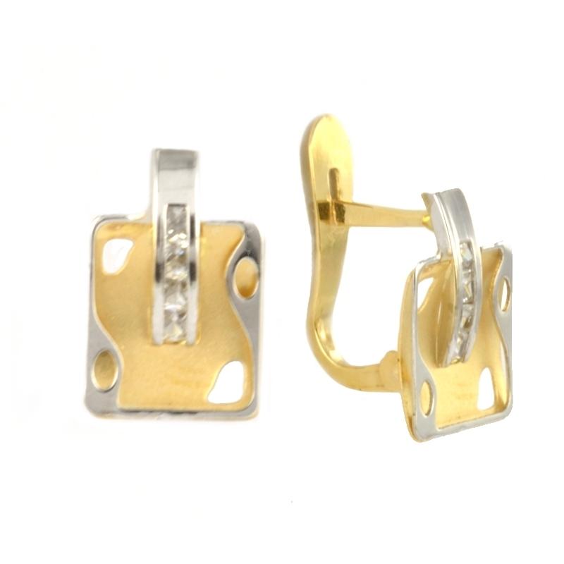 Pendientes oro bicolor con circonitas