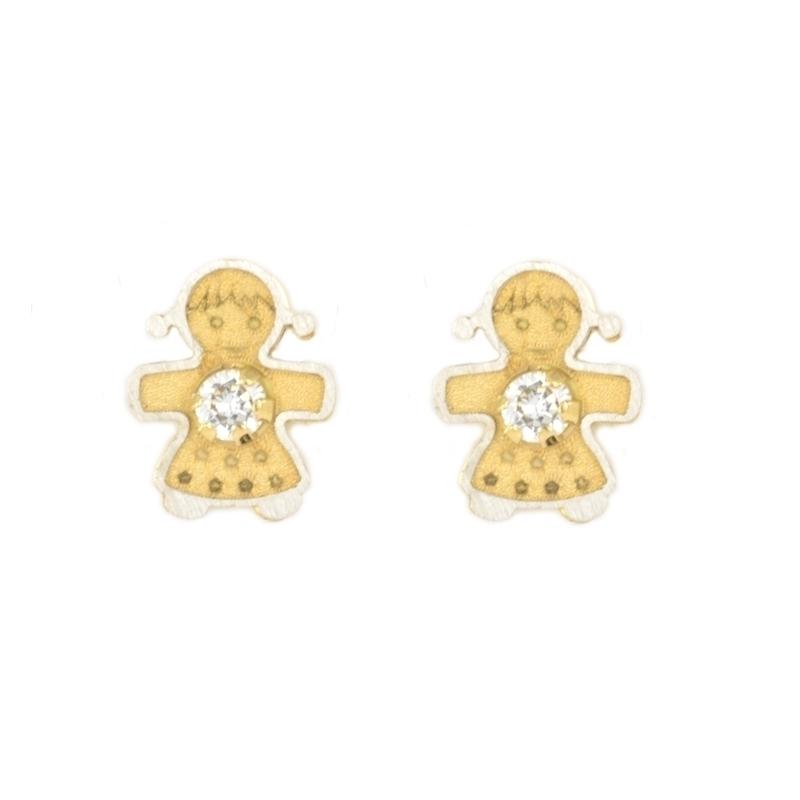 Pendientes oro bicolor niña con circonita