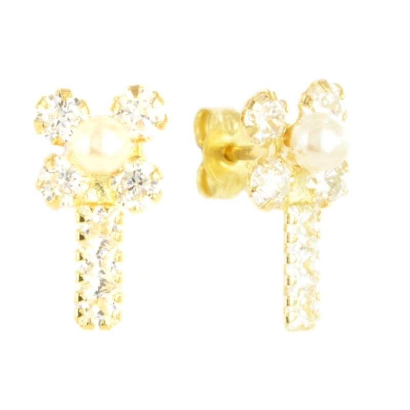 Pendientes oro circonitas perla