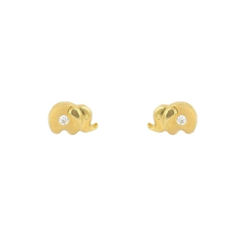 Pendientes oro Elefante con circonita