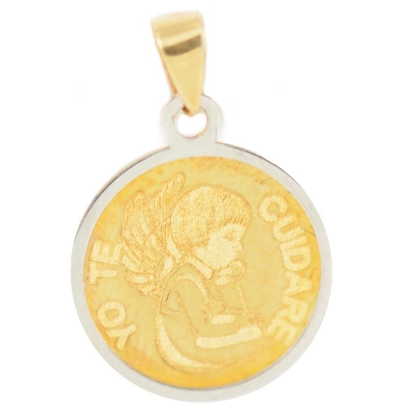 """Medalla oro """"Yo te cuidaré"""" 16mm"""