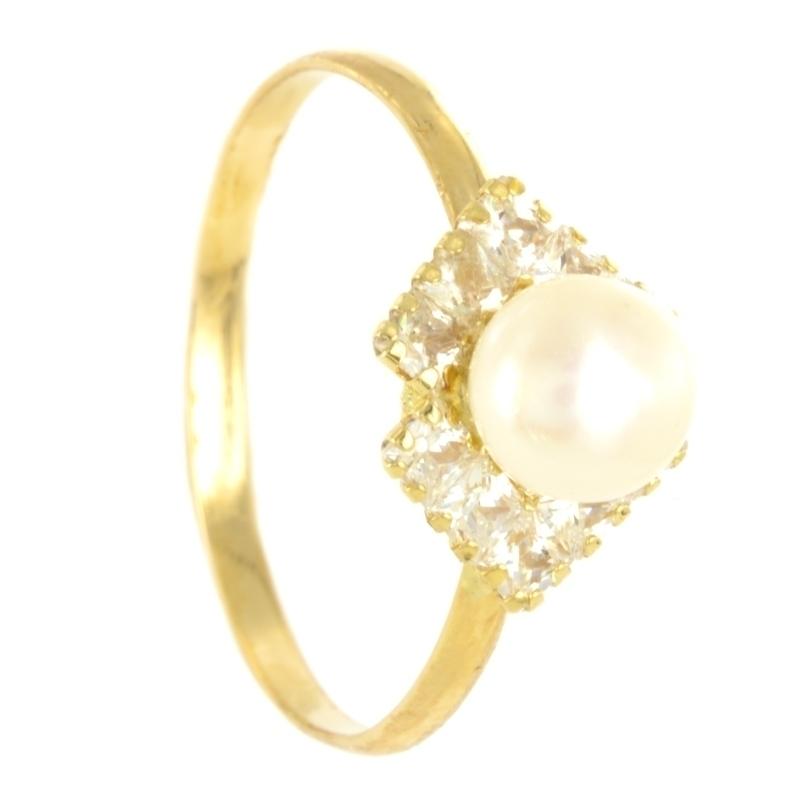 Sortija oro Comunión con perla y circonitas