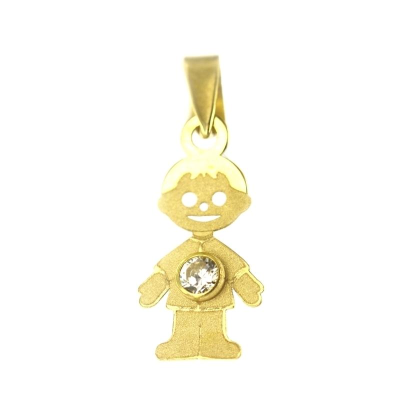 Colgante oro niño con circonita