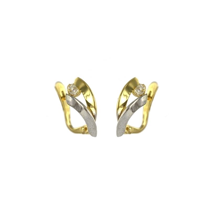 Pendiente Oro Bicolor 18K Circonita