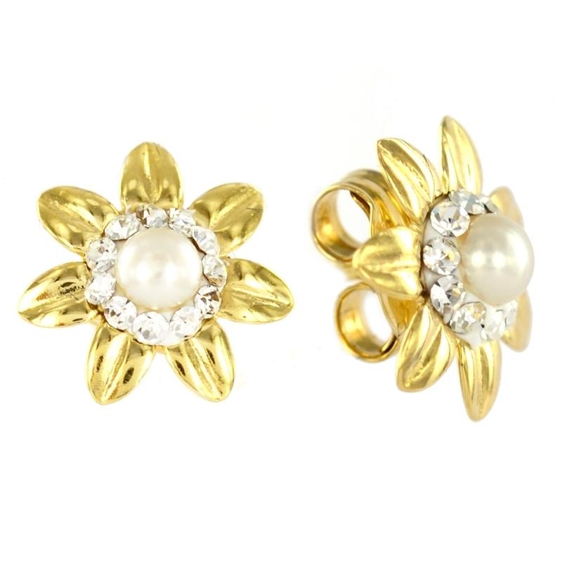 Pendiente Oro Amarillo 18K flor con Perla
