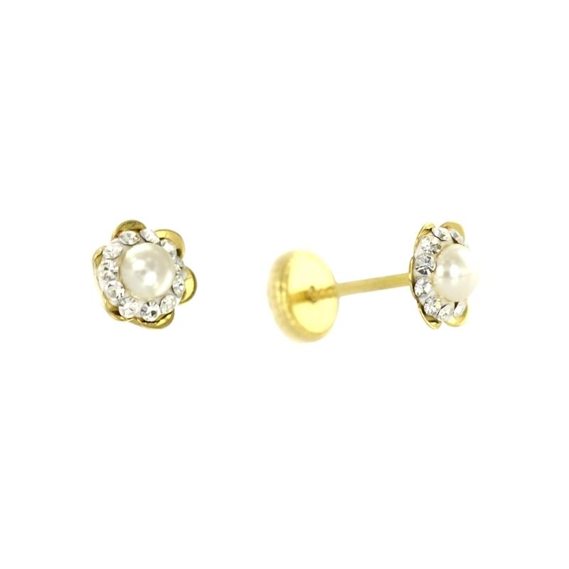 Pendientes oro Flor perla con multipiedra