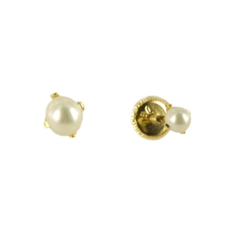 Pendientes oro garra con Perla 3 mm.