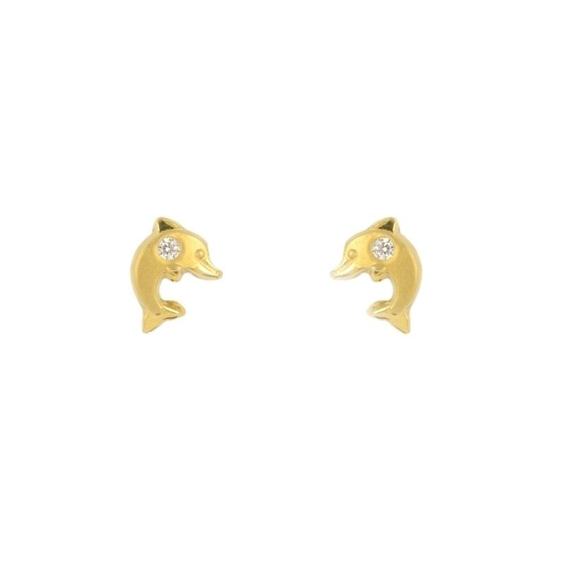 Pendientes oro Delfín con circonita