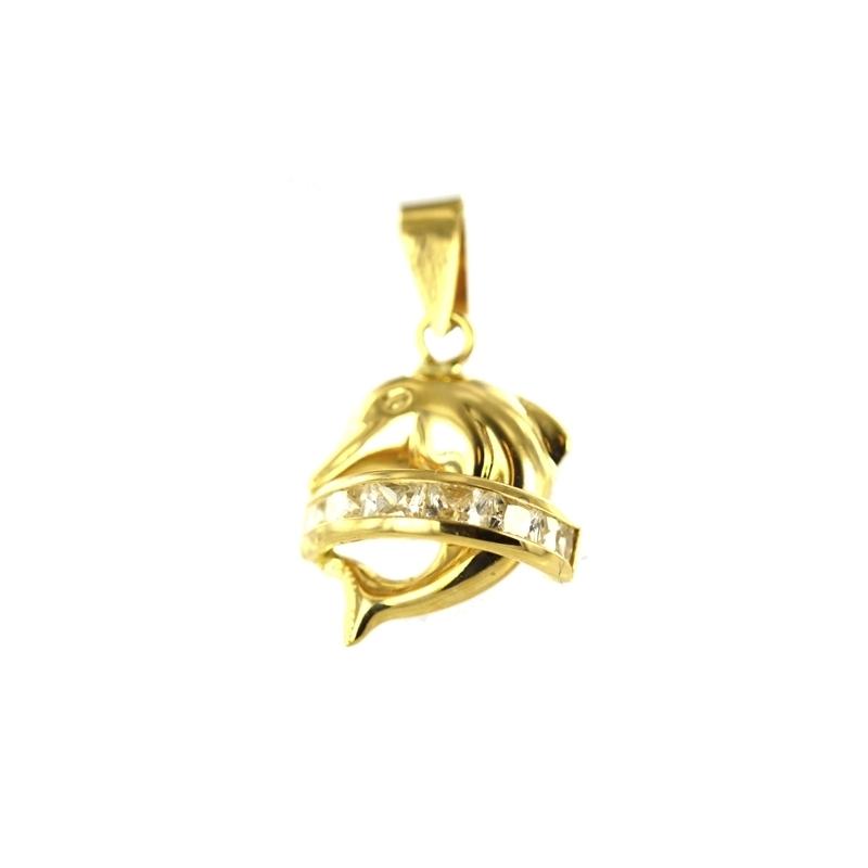 Colgante oro Delfín circonitas