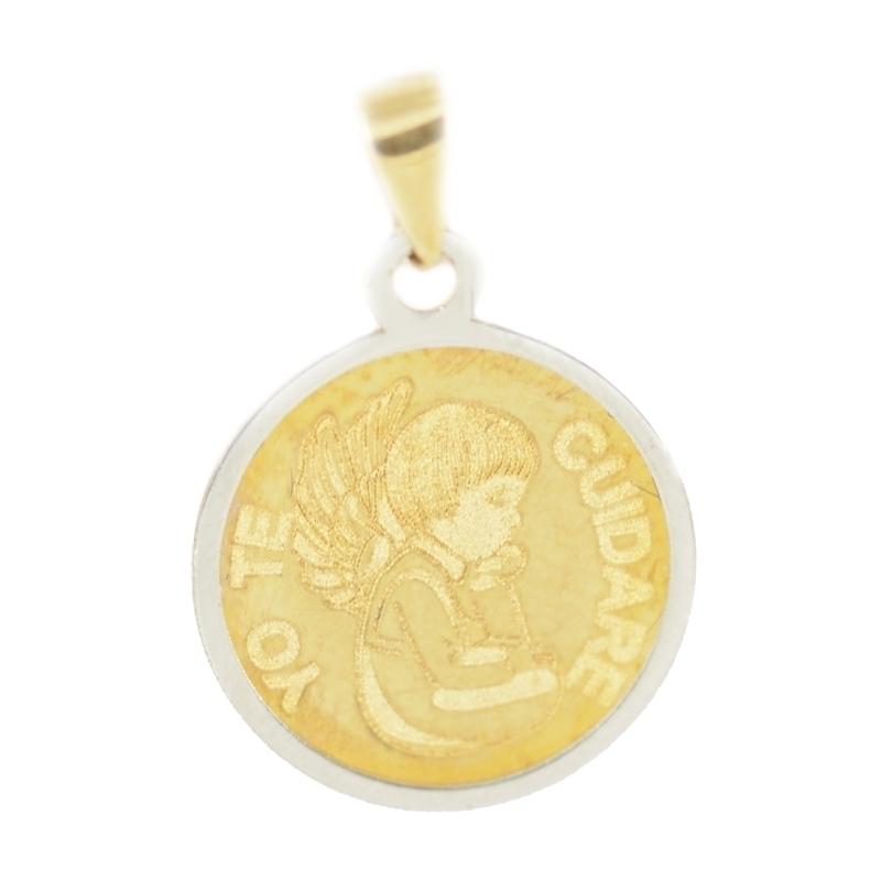 """Medalla oro """"Yo te cuidaré"""" 14mm"""