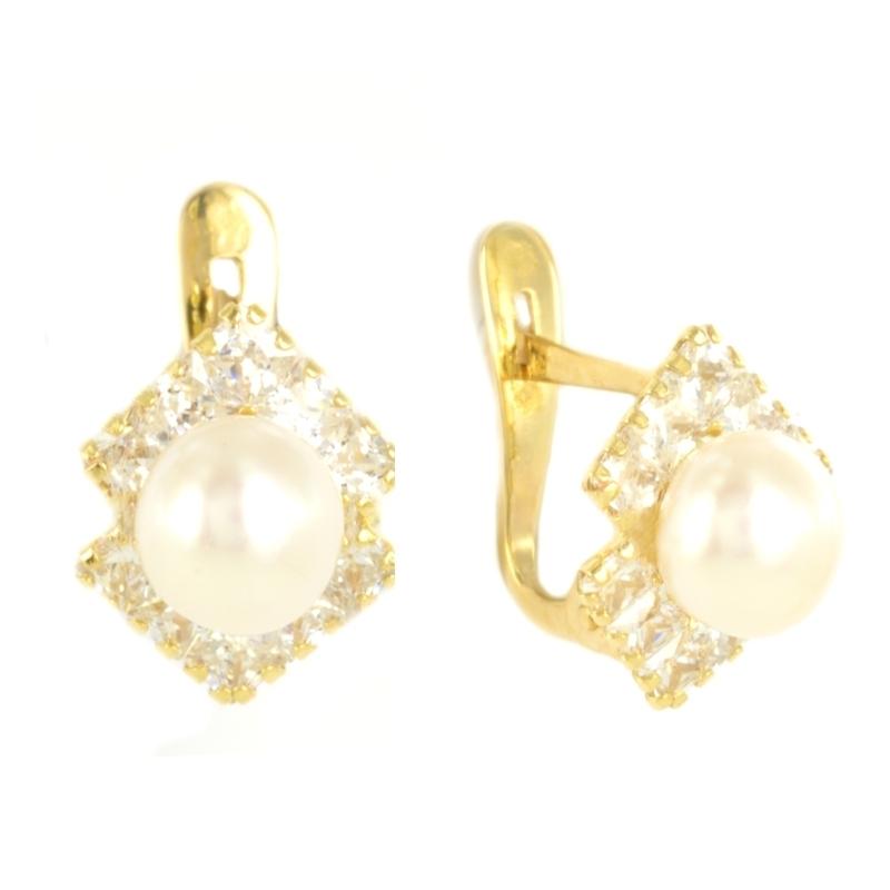 Pendientes oro comunión perla y circonita