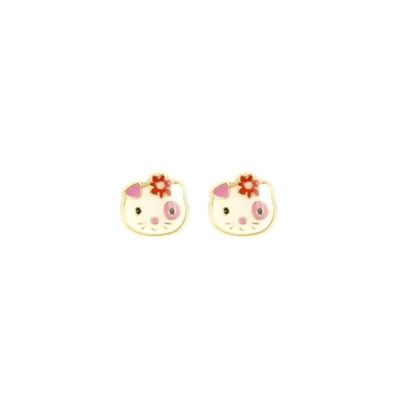 Pendientes oro 15k Flor
