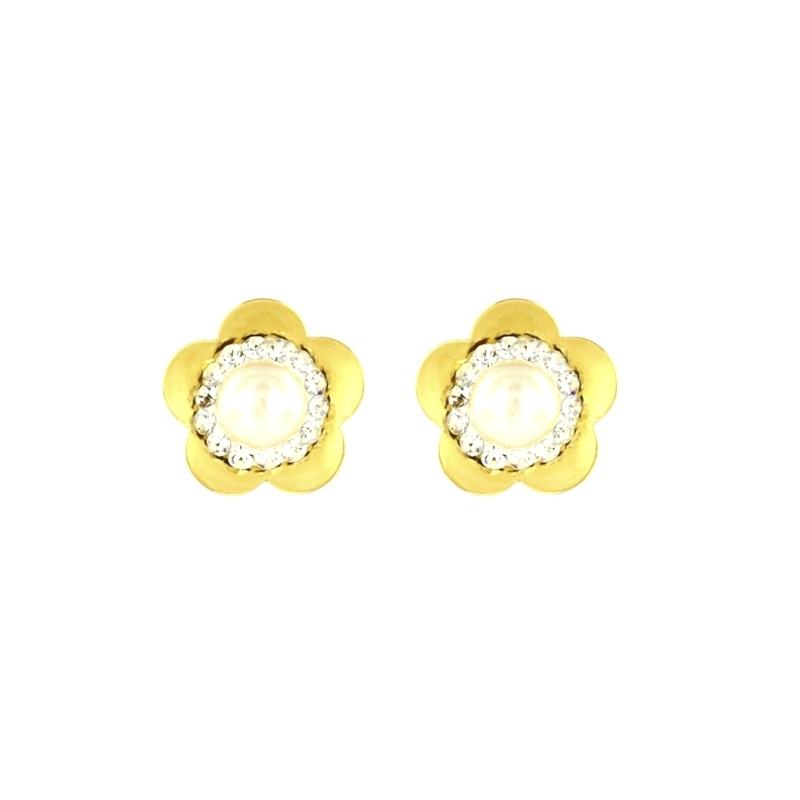 Pendiente Oro Amarillo 18K flor con Multipiedras y Perla