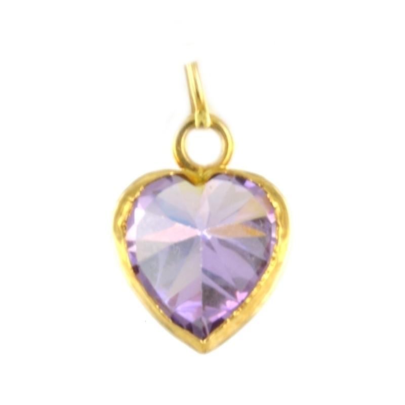 Colgante oro Corazón con piedra color