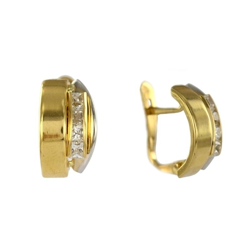 Pendiente Oro Bicolor 18K Circonitas