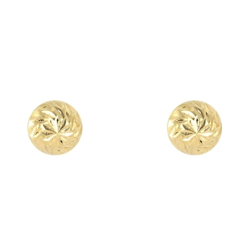Pendientes oro bola tallada