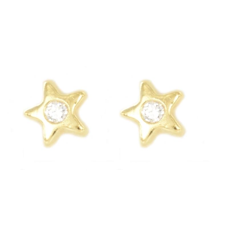 Pendientes oro chatones estrella con circonitas